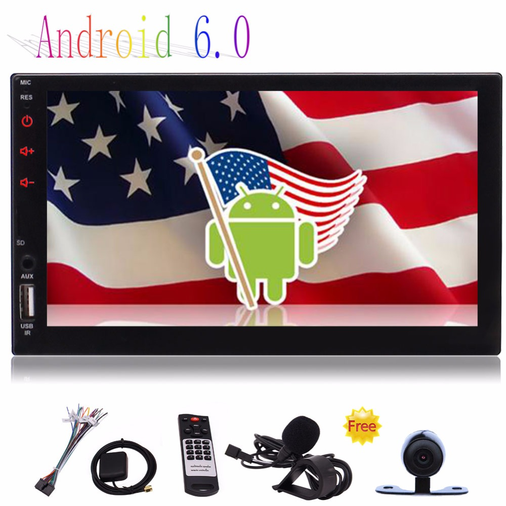 Free Rear Camera+2 Din Android 6.0 7&#8243; <font><b>Car</b></font> Stereo Bluetooth Touch Screen Support WiFi,GPS/Navigation,<font><b>Mirror</b></font> Link,USB/SD/AUX/AM/FM