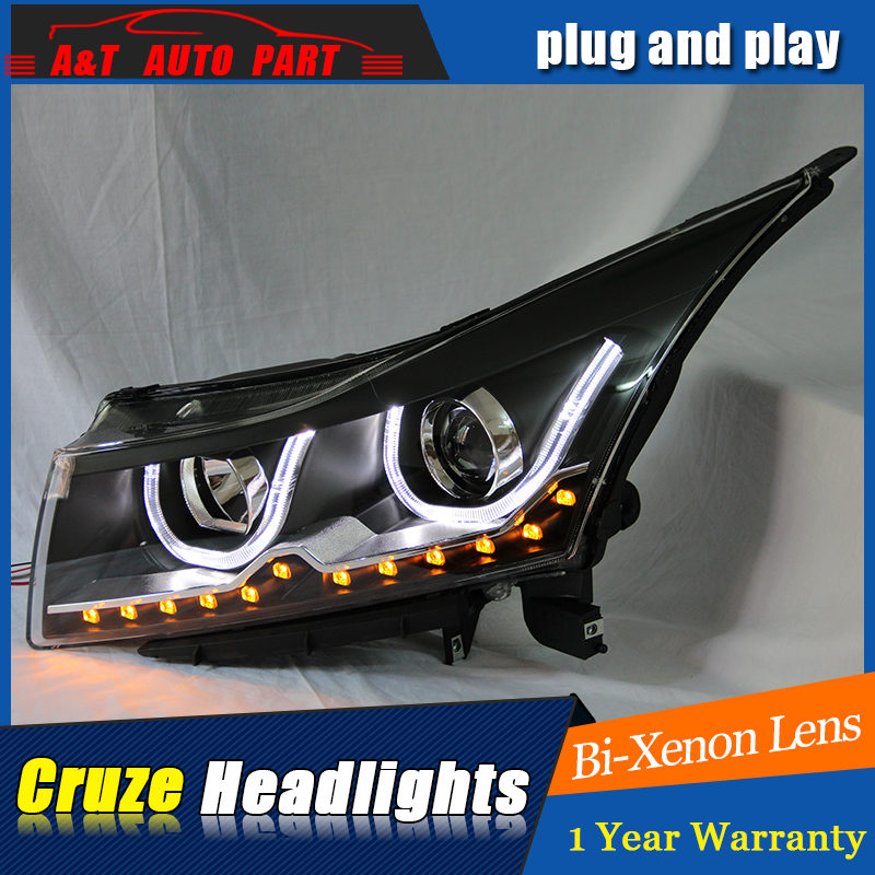 Auto part Style LED Head Lamp for Chevrolet Cruze led headlights 2010-2014 drl H7 hid Bi-Xenon Lens angel eye low beam car styling for chevrolet trax led headlights for trax head lamp angel eye led front light bi xenon lens xenon hid kit