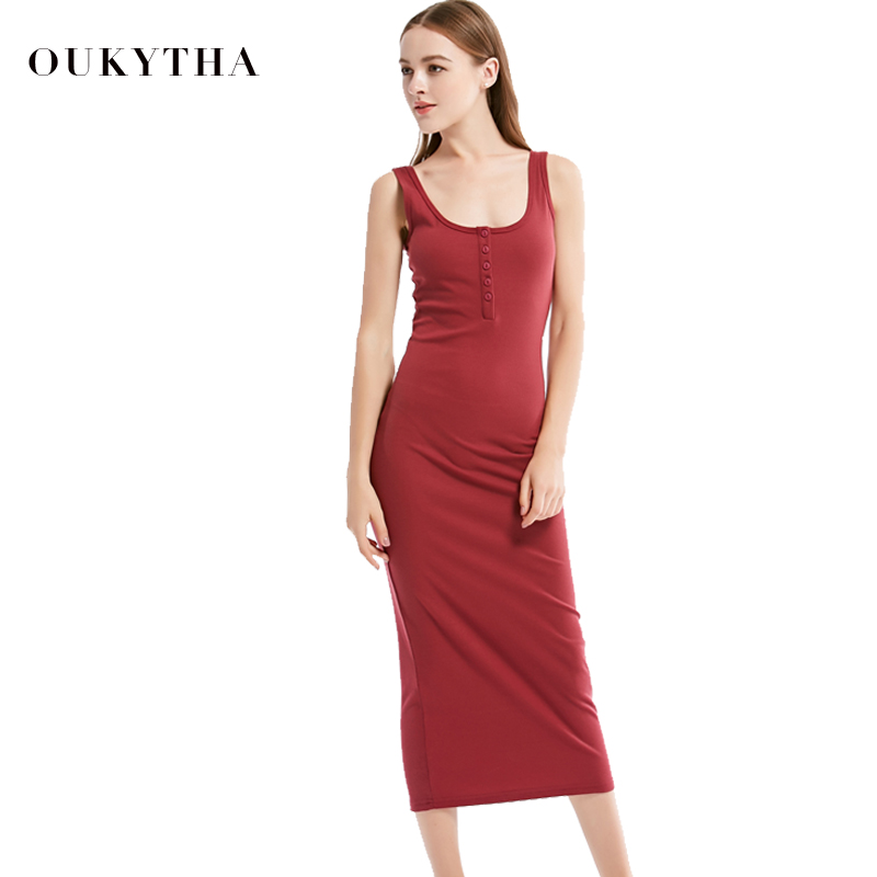 Oukytha 2017 Summer Style Women Maxi Dress Sleeveless Sexy Deep U-neck Vintage Dress Hign Waist Long Dress With Buttons J15003