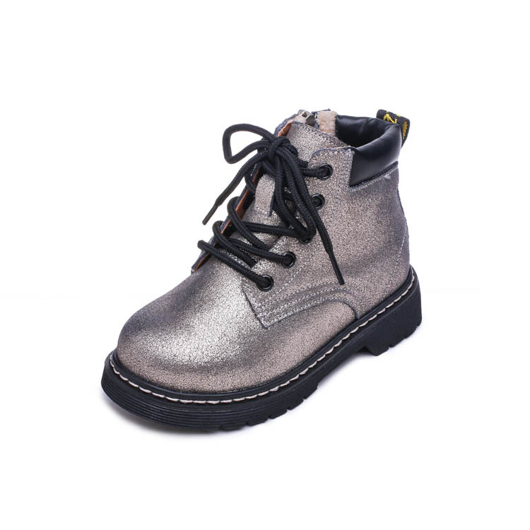 Childrens Genuine Leather Martin Boots 2018 Autumn and Winter Girls Boys Kids Shoes