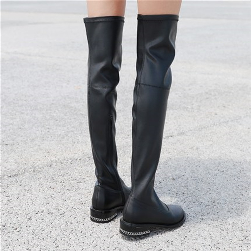 Black Sexy Autumn Over The Knee Boots Woman Round Toe Silver Chain Flat Long Boots Women Fashion Thigh Boots Martin Botas Mujers недорго, оригинальная цена