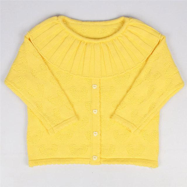 De alta calidad de ropa de Bebé niña Suéter de Cuello de Hoja de Loto Childr Otoño Invierno Amor Diseño Camisa de Imprimación Suéter de Punto de Algodón