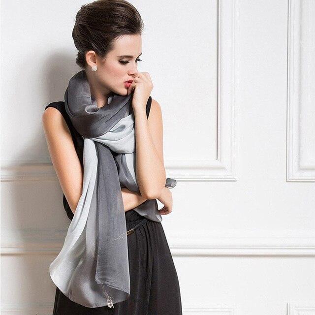 2016 New Design Luxury Brand Solid Real Silk Summer Modal Scarf Gradient Dip dye  Women Muslim Hijab Shawl Long Soft Wrap