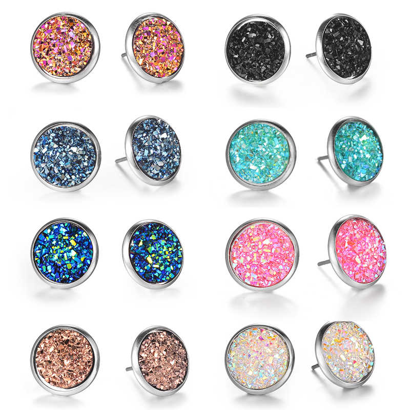 1 Pairs / Set  17 Colors Cute Round Stud Earrings For Women Fashion Stainless Steel Earrings Birthday Gift Wholesale Cheap Price