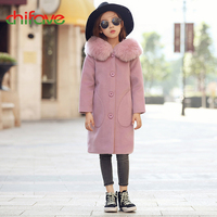 2017 Chifave Baby Girls Wool Coat Fur Collar Hooded Outwear Baby Girls Coat Solid Children Winter