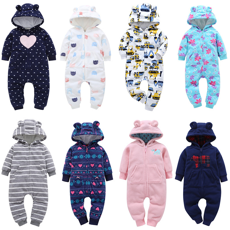 Autumn & Winter Newborn Infant Baby Clothes Fleece Jumpsuit Boys Romper Hooded Jumpsuit Bear Onesie Baby Baby Winter Clothes