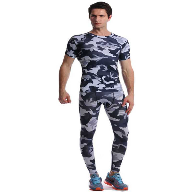 Camouflage Mens Compression Sets Shirt Lycra Crossfit T-shirt Joggers Men Base Layer Cas ...