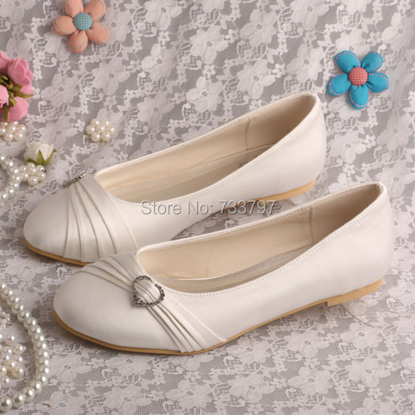Wedopus Satin Flats Ivory Round Toe Party Wedding Bridal Dress Shoes for Bride round toe satin white wedding shoes rose bridal dress shoes party prom dress shoes for ladies