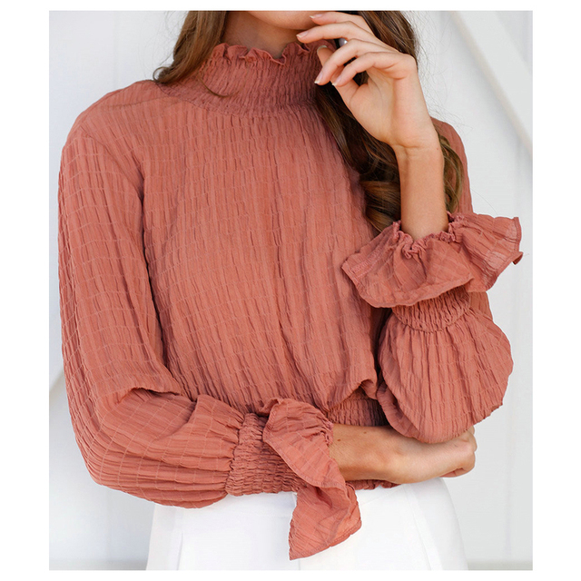 6c2a57325ec US $7.43 |Spring Autumn Women Turtleneck tunic Tops T Shirts Casual Long  Sleeve Loose Tight Waist Tops Tees Sexy Female loose ruffles T -in T-Shirts  ...