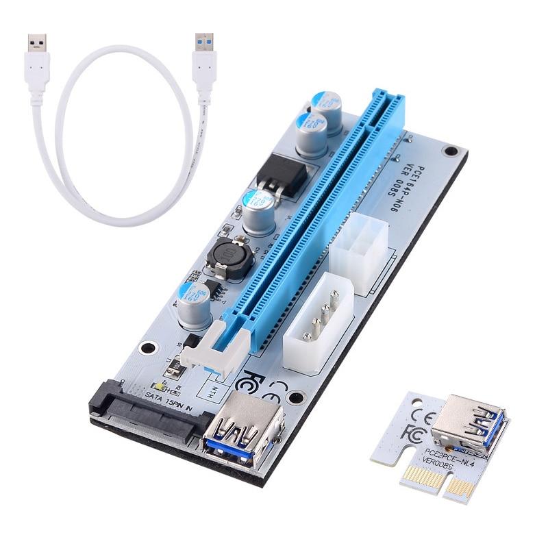 1pc/6pcs/12pcs PCI-E Riser VER 008S Express 1X to 16X USB 3.0 Graphics Mining Extension Cable  Anti-burn machine chip QJY99 industrial equipments board ipc 6114p12 ver b1 pci 12 isa 3