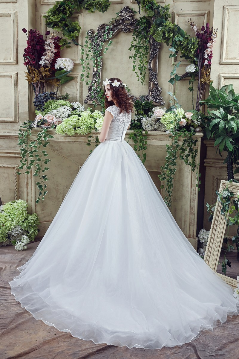 Romantic Organza Princess Wedding Dress Ball Gown 2016 Lace Top Cap ...