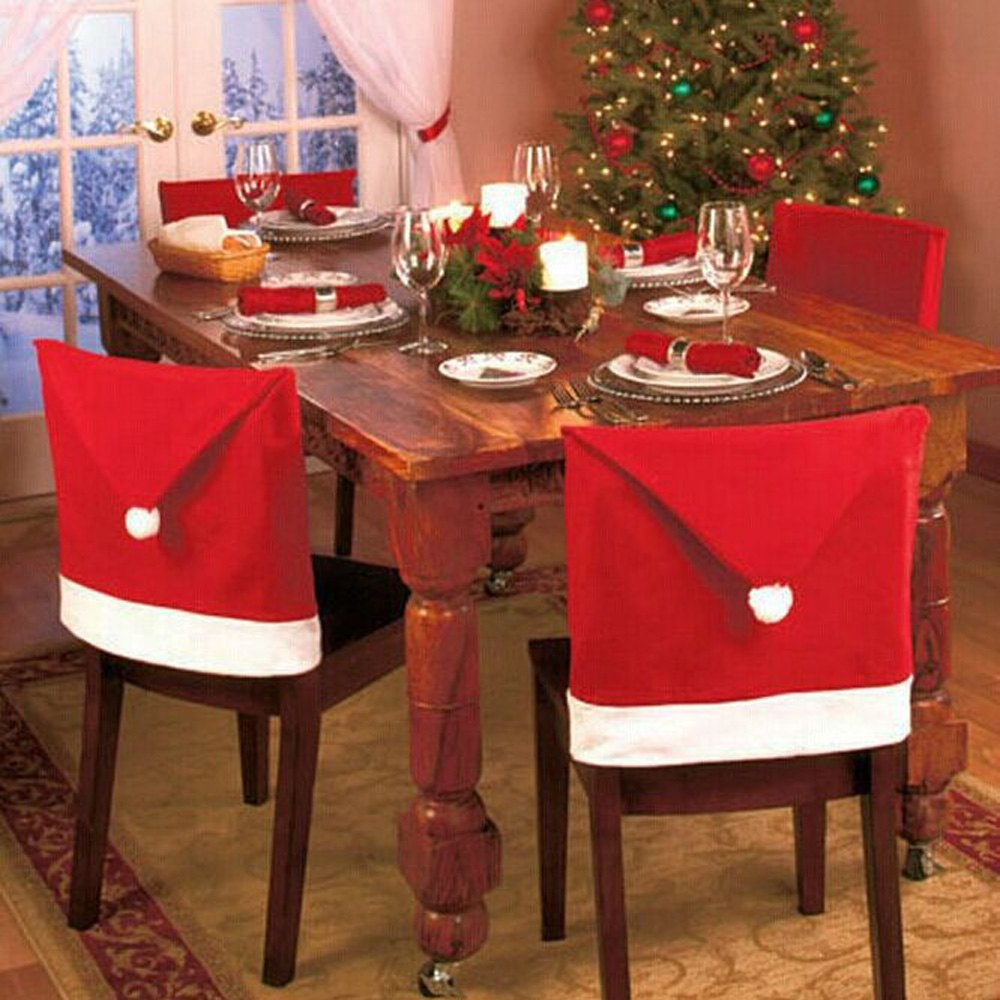 Christmas chair back covers - 6pcs Lot Santa Claus Hat Chair Cover Christmas Decoration For Home Party Holiday Festive And