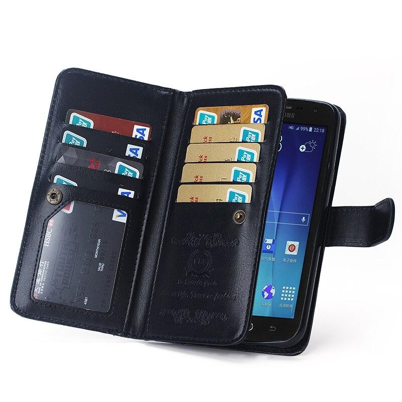 imágenes para Color negro billetera de cuero de lujo case para samsung galaxy j7 2015 tirón de la cubierta case 2 en 1 desmontable titulares de la tarjeta y de la foto marco