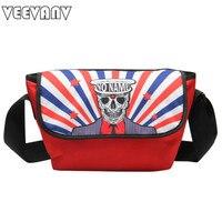 VEEVAN 2014 New Fashion Messenger Bag Printed Men S Travel Bags Casual Skull Bag School Bags