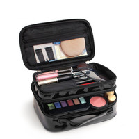 Double Layer PU Lady S Cosmetic Bags Waterproof Make Up Tools Organizer Pouch Wash Toiletry Vanity