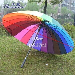 Image 2 - Donne Pioggia Ombrello Arcobaleno di Marca 24K Antivento Ombrelli Manico Lungo Impermeabile di Modo Variopinto Paraguas Forte Telaio