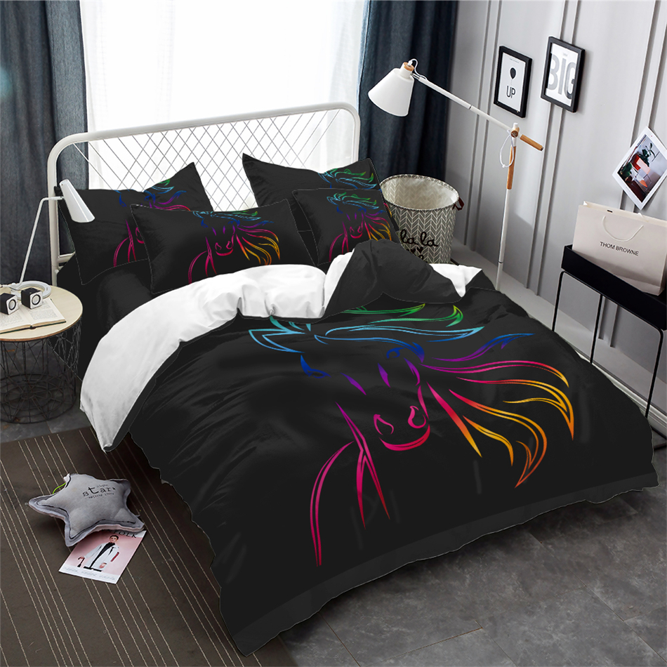 Sparkling Horse Bedding Set Simple Animal Painted Duvet Cover Set Horse Person Bedding Black Bedclothes Pillowcase Home DecorSparkling Horse Bedding Set Simple Animal Painted Duvet Cover Set Horse Person Bedding Black Bedclothes Pillowcase Home Decor