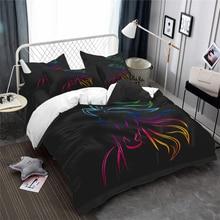 Sparkling Horse Bedding Set Simple Animal Painted Duvet Cover Person Black Bedclothes Pillowcase Home Decor