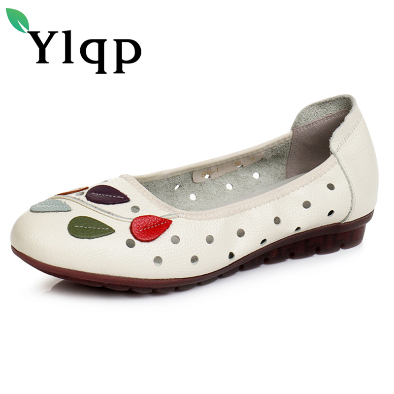 Ylqp 2018 Summer Mother Genuine Leather Flat Bottom Shoes Female Casual Hollow out Breathable Comfortable Flats Zapatos Mujer 2018 new summer casual genuine leather hollow flat shoes green black women shoes comfortable and breathable hole shoes obuv