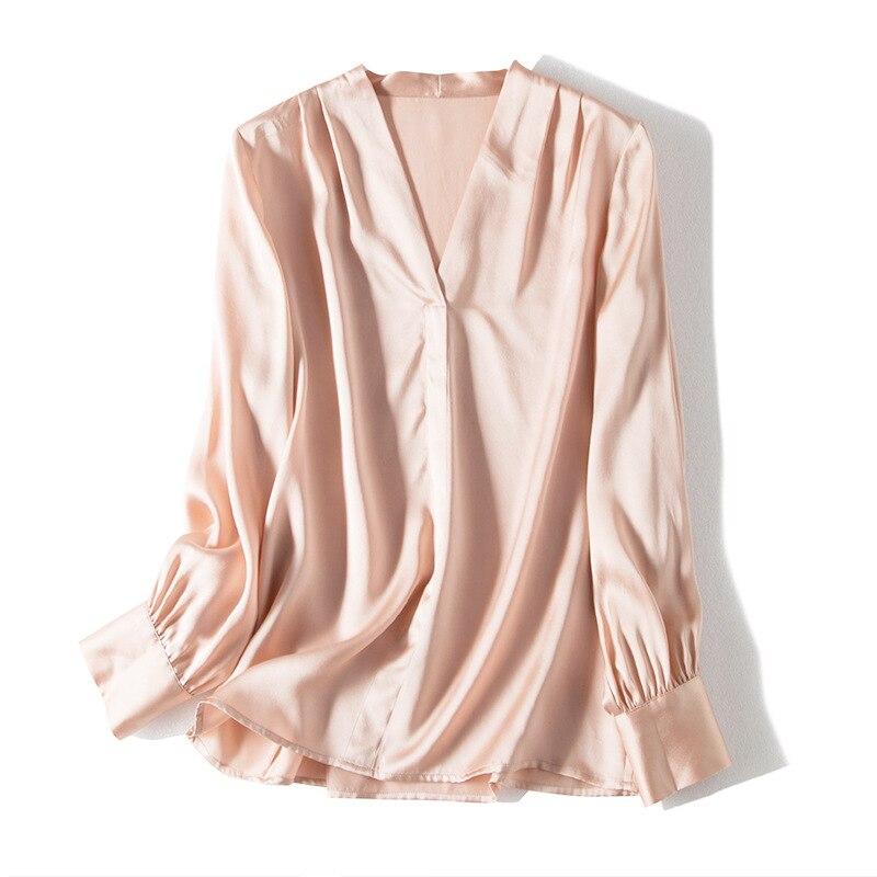 Silk blouse Women 100% Real silk Long sleeved Office lady blouse shirt V neck 2019 Female shirt
