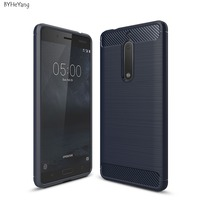 Luxury Hybrid Slim Armor Case For Nokia 5 Carbon Fiber Texture Brushed Silicone Soft Cover For