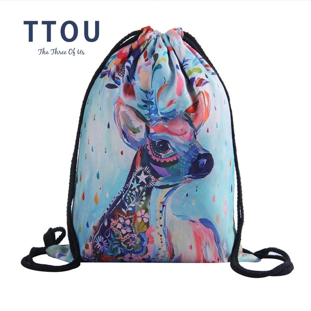 TTOU Girl Drawstring Backpacks Fashion 3D Print Drawstring Schoolbag For Girls Travel Backpack