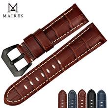 MAIKES Watch Accessories Brown Handmade Black Steel Buckle Genuine Leather 22mm 24mm 26mm Watchband Strap & Band