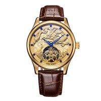 AILANG Женева Швейцария часы для мужчин Элитный бренд автоматическая Оригинальные турбийон, часы скелетоны золотые часы китайский дракон