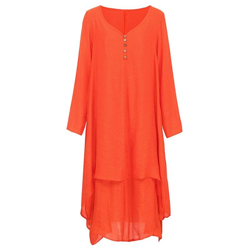 EaseHut Vintage Women Casual Loose Dress Solid Long Sleeve Boho Ethnic Autumn Long Maxi Dresses Plus Size Retro vestido mujer 10
