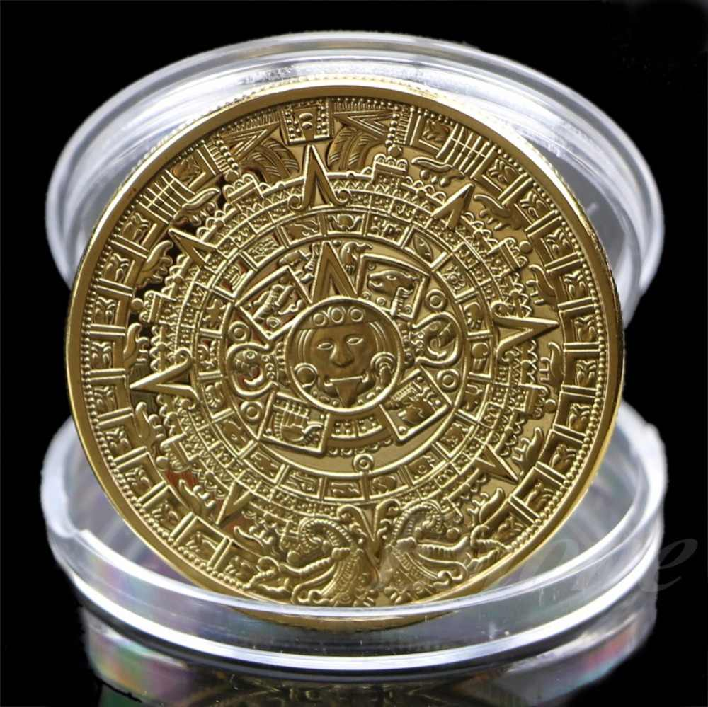 1 x Aztec Mayan Calendar Souvenir Gold Plated Commemorative Coin Collection Gift