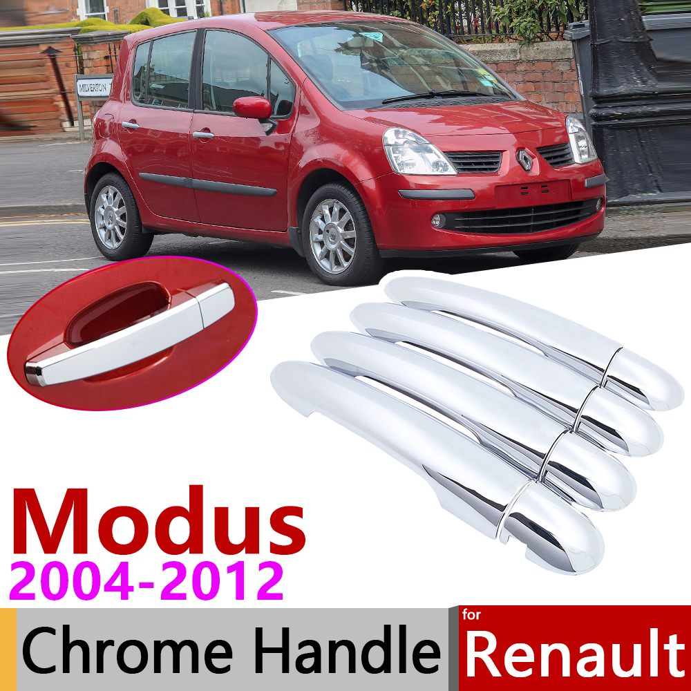 For Renault Grand Modus 2004~2012 Chrome Door Handle Cover Car Accessories Stickers Trim Set 2005 2006 2007 2008 2009 2010 2011