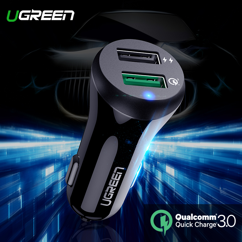 Ugreen Car Charger Quick Charge 3.0 Fast for Xiaomi mi Samsung S9 S8 USB Car Charger