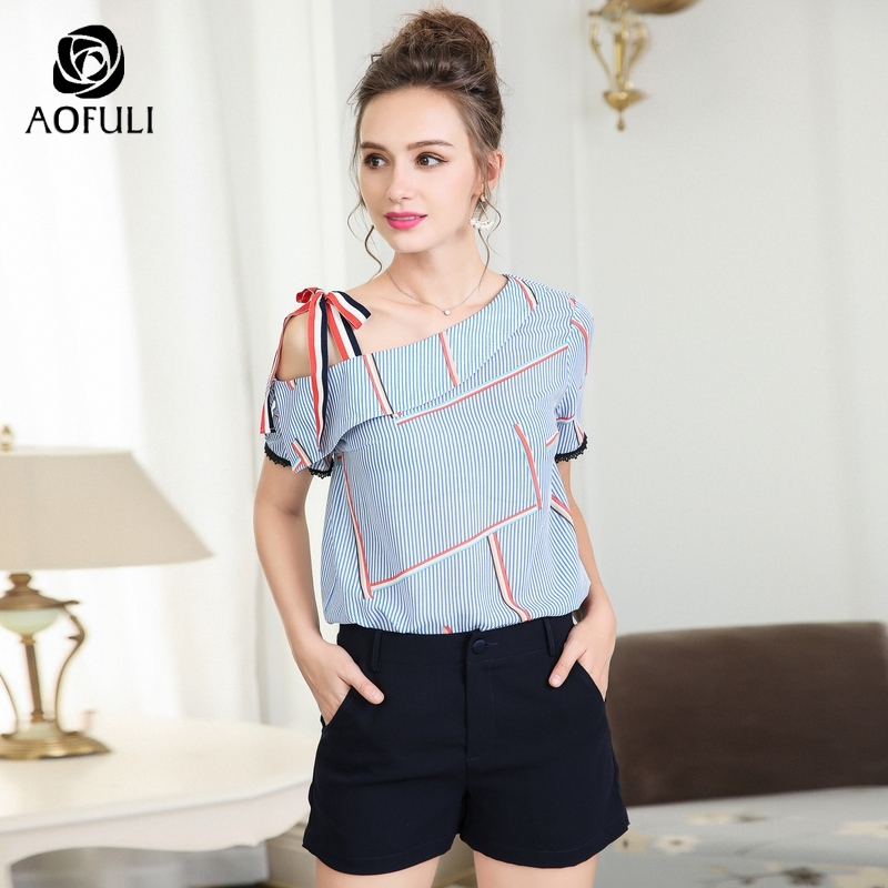 daf4148c01b77 AOFULI England Striped Print Blouses 2018 Summer Stylish Skew Collar Tops  Short Sleeve Plus Size Shirt L XXXL 4XL 5XL A3653-in Blouses   Shirts from  Women s ...