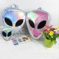 Laser Transparent sac à dos garçons 3D Alien ET tête visage conçu unisexe sac à dos mode Triangle sac de loisirs pour les filles