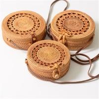 LJQEAST Summer Bali Hand Woven Rattan Embroidered Bag Shoulder Bag Crossbody Bags Handbags Straw Bohemian Beach Knit Circular