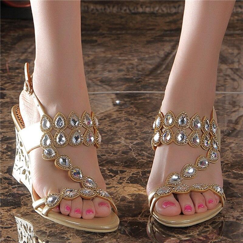 Wedding High Heels Sandals: 2017 Women's Summer Style New Wedges Sandals Size 11 Gold