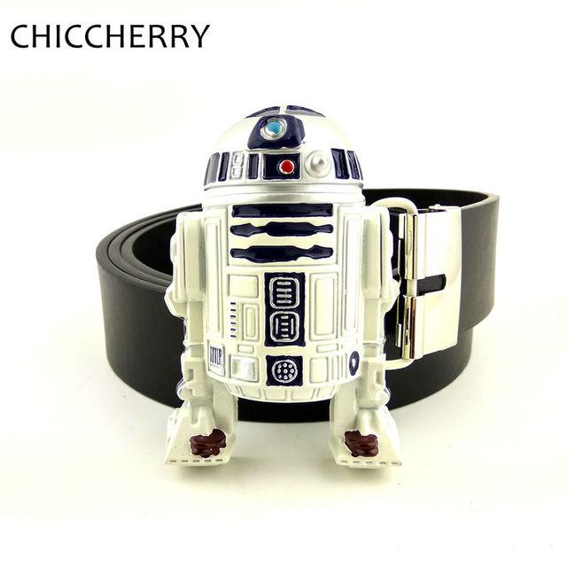 Nova Moda calças de Brim dos homens Cintos de Couro Fresco 3D Star Wars R2D2 robô Grande Presentes De Metal Fivelas de Cinto Para Calças Dos Homens Cinto Masculino