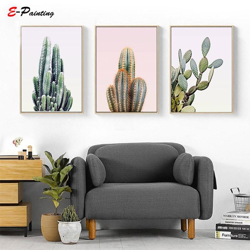 Western Decor Paint: Modern Wall Art Desert Cactus Photo Canvas Painting South