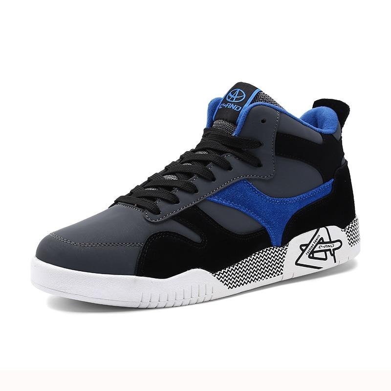 Prix pour 2017 nouveau printemps hommes planche à roulettes sport high top pour hommes sneakers qualité hip-pop chaussures de skate en plein air zapatillas chaussures