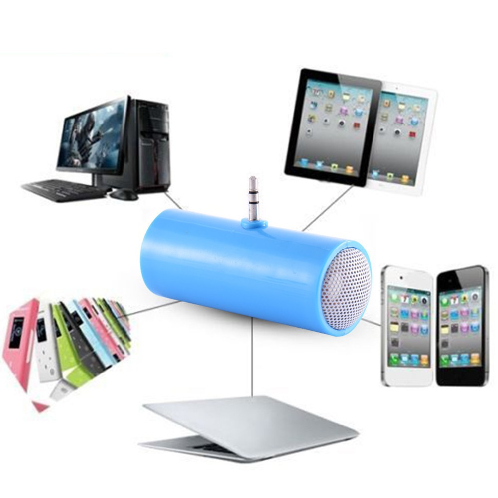 Mini Portable Dual Channel Mono Speaker with 3.5mm Jack Connector Mini Audio Speakers for Mobile Phone Tablet Computer blue