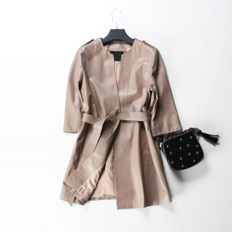 f3b6b5cf5f84 ... 2018 Spring Women Genuine Leather Trench Coat Long Black Red Belt Vintage  Leather Clothes Coat Ladies ...