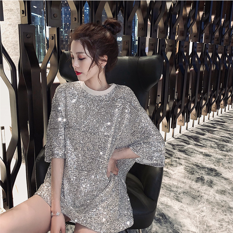 New Mid-long Womens Lady Sequined Bling Shiny Top Short Sleeve T Shirt  Women Ins Sparkling Loose T Shirt Dress