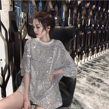 Nieuwe mid-lange Womens Lady Lovertjes Bling Shiny Top Korte Mouw T-shirt vrouwen ins fonkelende losse T-shirt jurk(China)