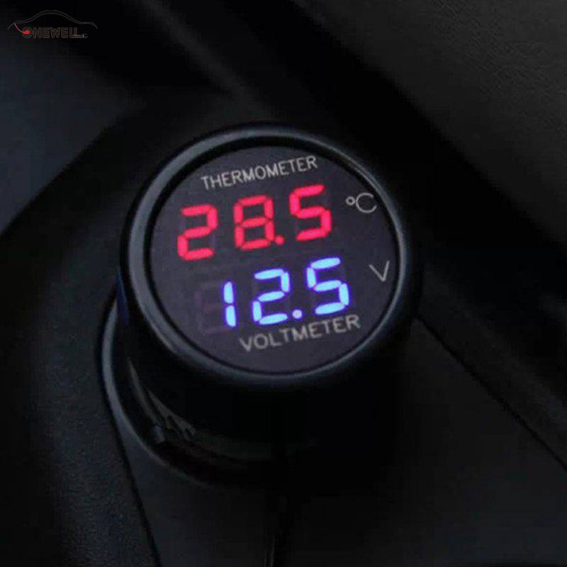 1PC 2 In 1 Car Auto 12V Dual Display LED Digital Thermometer Voltmeter 3 Colors Car Voltage Meters in Volt Meters from Automobiles Motorcycles