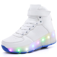 Children Roller Shoes With LED Fashion Boy & Girls Sport Casual Wheel Shoes Breathable Kids Flash Sneakers Size 29 40