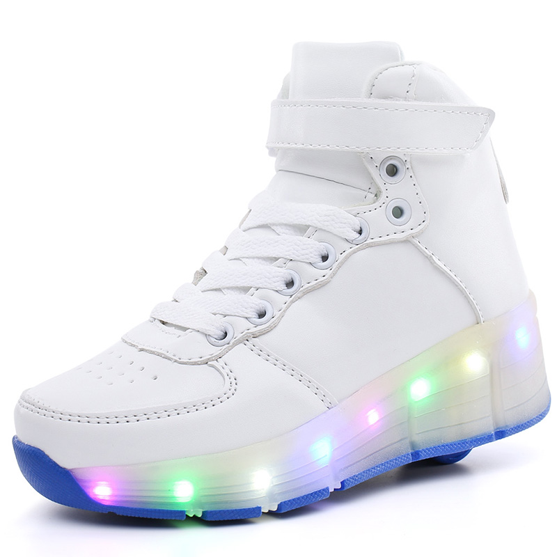 Children Roller Shoes With LED Fashion Boy & Girls Sport Casual Wheel Shoes Breathable Kids Flash Sneakers Size 29- 40