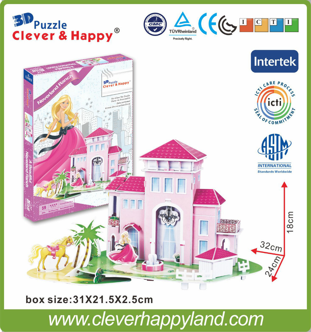 new clever&happy land 3d puzzle model Dream Manor Of Leer diy paper model puzzle girl toys games for children paper halo bruteshot 3d paper model