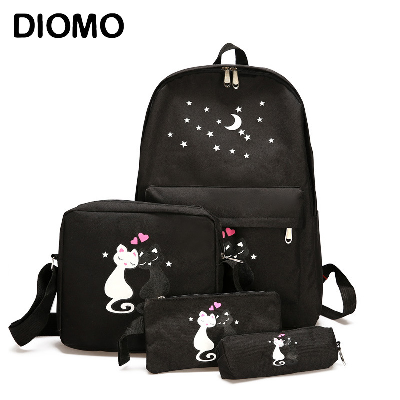 DIOMO School Backpack Four-piece Set For Girls Teenagers Canvas Back Pack Female Sac A Dos Femme Fashion Rucksack Women Casual