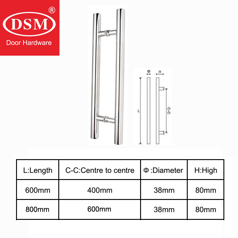 600mm-800mm 304 Stainless Steel Brushed Entrance Door Handle PA-102 2