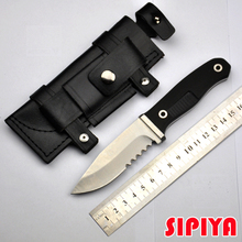 Fixed Blade knife Serrated Survival Knife camping ourdoor EDC tools & Leather sheath & Fire Starter